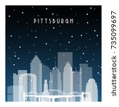 winter night in pittsburgh.... | Shutterstock .eps vector #735099697