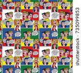 pop art background. retro comic ... | Shutterstock . vector #735099853