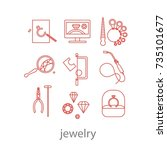 set of professional jeweler... | Shutterstock .eps vector #735101677