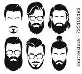 Set Of  Silhouette Bearded Men...