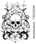 vector illustration of lily and skull in black and white colors - stock vector
