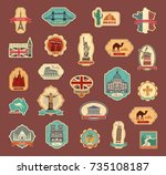 travel stickers and symbols... | Shutterstock .eps vector #735108187