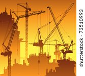 lots of tower cranes on... | Shutterstock .eps vector #73510993