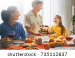 happy thanksgiving day  autumn... | Shutterstock . vector #735112837