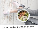 fitness breakfast  running... | Shutterstock . vector #735121573