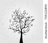 black and white music tree with ... | Shutterstock .eps vector #735122893