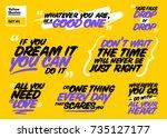 vector set of motivational... | Shutterstock .eps vector #735127177
