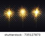 golden sparklers that spread... | Shutterstock .eps vector #735127873