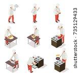 cook in uniform prepares and... | Shutterstock .eps vector #735129433