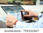 business man working and... | Shutterstock . vector #735132367