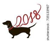dog  symbol of new year 2018.... | Shutterstock .eps vector #735133987