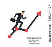 businessman running on chart up.... | Shutterstock .eps vector #735144427