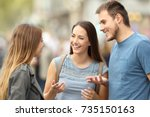 portrait of three smiling... | Shutterstock . vector #735150163