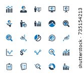 graph and diagram icons   blue... | Shutterstock .eps vector #735154213