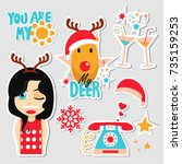 christmas set of stickers  pins ... | Shutterstock .eps vector #735159253