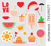 set of stickers  pins  patches... | Shutterstock .eps vector #735159277