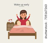 a woman wake up in the morning. ... | Shutterstock .eps vector #735167263