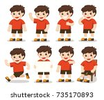 boys character set  in... | Shutterstock .eps vector #735170893