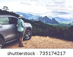 back view of a young man... | Shutterstock . vector #735174217