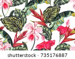 Stock vector floral seamless vector tropical pattern background with exotic flowers palm leaves jungle leaf 735176887