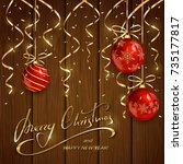 red christmas balls with golden ... | Shutterstock .eps vector #735177817