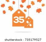 orange hanging price tag labels ...   Shutterstock .eps vector #735179527