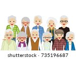 assembling senior people  waist ... | Shutterstock .eps vector #735196687