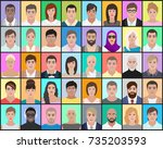 portraits of people on a... | Shutterstock .eps vector #735203593