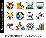 concept business icons set   12 ... | Shutterstock .eps vector #735207793