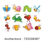 set of vector insects.... | Shutterstock .eps vector #735208387