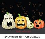 spooky halloween pumpkins card  | Shutterstock . vector #735208633
