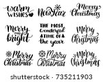 vector handwritten christmas... | Shutterstock .eps vector #735211903