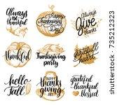 vector thanksgiving lettering... | Shutterstock .eps vector #735212323