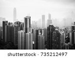 black and white skyline of hong ... | Shutterstock . vector #735212497