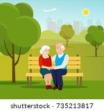 old family  in nature sitting... | Shutterstock .eps vector #735213817