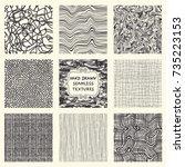 set of nine seamless hand drawn ... | Shutterstock .eps vector #735223153