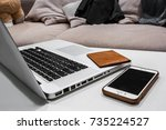 home work with lap top  wallet... | Shutterstock . vector #735224527