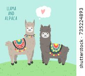 a couple of cute animals llama... | Shutterstock .eps vector #735224893
