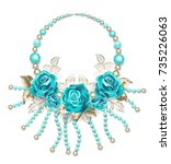 necklace of turquoise roses ... | Shutterstock .eps vector #735226063