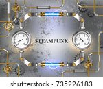 gray  steampunk  industrial...   Shutterstock .eps vector #735226183