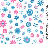 Stock vector seamless pattern with blue and pink flowers 735227737