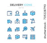 delivery icons. vector line... | Shutterstock .eps vector #735228793