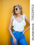 summer  fashion and people... | Shutterstock . vector #735229513
