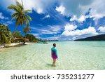 beach vacation tourist woman... | Shutterstock . vector #735231277