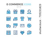e commerce icons. vector line... | Shutterstock .eps vector #735231823