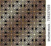 golden seamless pattern in art...   Shutterstock .eps vector #735237103