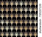 golden seamless pattern in art...   Shutterstock .eps vector #735237133