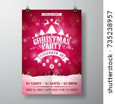 vector merry christmas party... | Shutterstock .eps vector #735238957