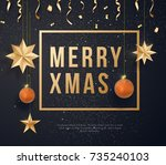 merry christmas on black... | Shutterstock .eps vector #735240103