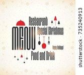 special christmas festive menu... | Shutterstock .eps vector #735240913